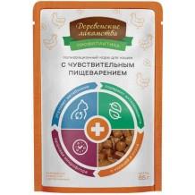 Деревенские лакомства консервы для кошек «При чувствительном пищеварении с курицей», пауч