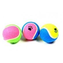 """Beeztees Игрушка для собак """"Мячик теннисный с отпечатками лап"""" разноцветный 6,5см"""